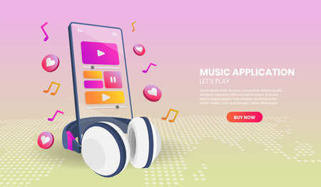 Music application and phone in perspective view.Vector 3d illustration.Hero image for website.