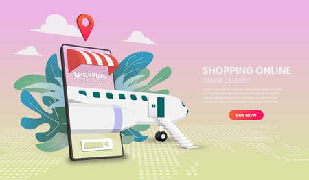 Shopping Online on Website or Mobile with plane Application Vector 3d vector illustration