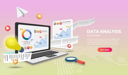 Data analysis concept Illustration. with colorful elements. Hero image for website. Vettoriali