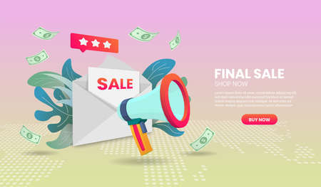 Final sale illustration concept with megaphone Application Vector 3d vector illustration