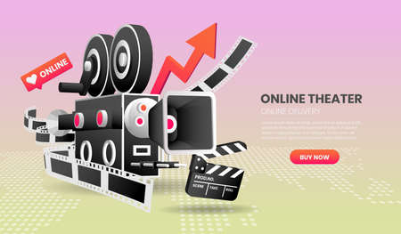 Vector illustration of online Cinema service concept suitable for landing page banner application and home page,3d vector illustration.