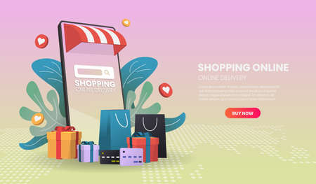 Shopping online on mobile phone. Online delivery service.3d vector illustration,Hero image for website