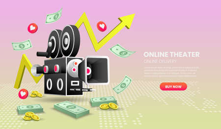 online Cinema service concept Illustration. with colorful elements. Hero image for website.