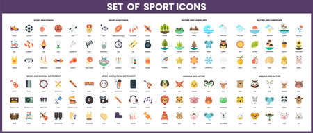 Set of outdoor activity icons in flat design elements icons set. Vector illustration