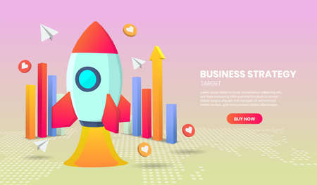 Business strategy concept with rocket and graph Application Vector 3d vector illustration. Vettoriali