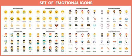 Set of colorful emoticons icons in flat design icons set. Vector illustration