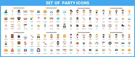 Celebration party icons set for Colorful symbols. Vector illustration