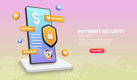 Payment security concept with phone shield and colorful element. 3d vector illustration,Hero image for website Vettoriali