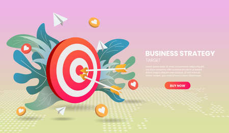 Business strategy concept with arrow and colorful element. 3d vector illustration,Hero image for website