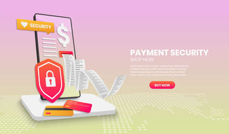 Payment security concept with phone shield suitable for landing page banner application and home page,3d vector illustration.