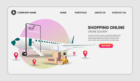 Shopping Online on Website or Mobile with plane Application Vector 3d vector illustration for landing page 向量圖像