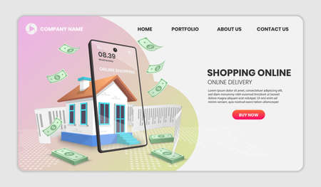 Shopping online with house concept. Online delivery service.3d vector illustration,Hero image for website 向量圖像
