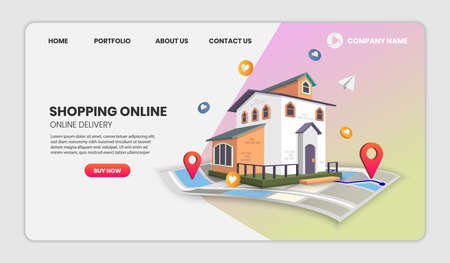 real estate landing page templates app page.For web banner, infographics, hero images. Hero image for website. vector illustration. 向量圖像
