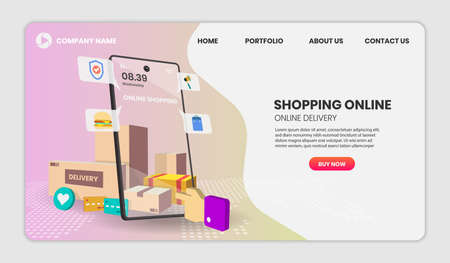 Online Shopping templates with phone service for food and package online shopping delivery service with motorcycle. 3d vector illustration,Hero image for website 向量圖像