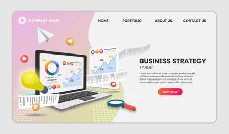 Business strategy concept with laptop and document Vector 3d vector illustration. 向量圖像