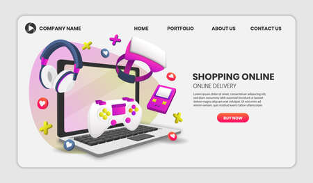 gaming on video game hardware in shopping online concept. Vector concept illustration. Hero image for website.