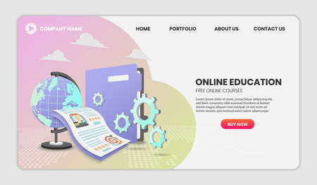 online education concept with document and colorful element. 3d vector illustration,Hero image for website. 3D vector Illustration with copy space 向量圖像