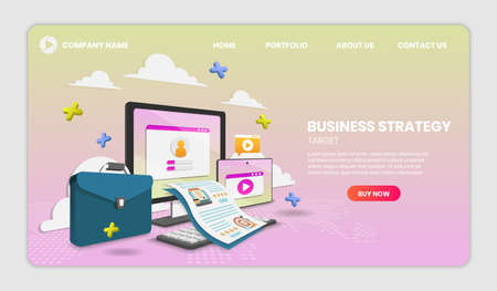 illustration of Business strategy concept with laptop and document Vector 3d vector illustration.