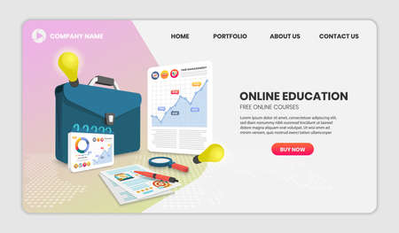 online education concept with document and Briefcase Vector 3d vector illustration. 向量圖像