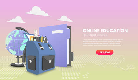 Education concept with school backpack and file illustration concepts for website and mobile website development. 向量圖像