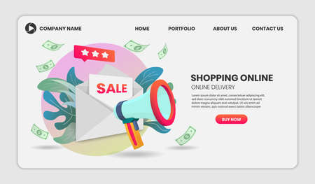 Shopping online illustration concept with megaphone Application Vector 3d vector illustration