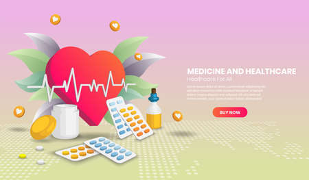 Medicine and healthcare concept with giant heart. hospital equipment and tools. Vector illustration in 3d Perspective style.