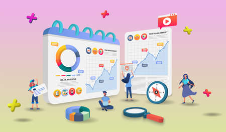 Online shopping concept banner with characters. Can use for web banner, infographics, hero images.3d Perspective vector illustration isolated on gradient background.