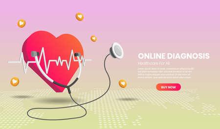 Online diagnosis concept landing page website illustration.3d Perspective vector illustration.