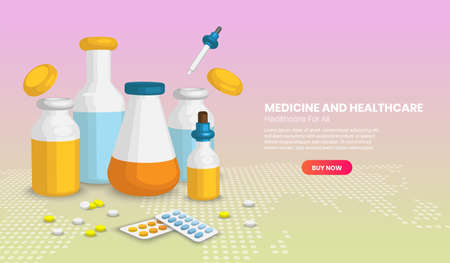 Different medical bottless and pill, Web page design templates of Medicine and healthcare concept. Vector illustration in 3d Perspective style.