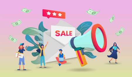 Final sale illustration concept with megaphone Application. Vector illustration in 3d Perspective style.