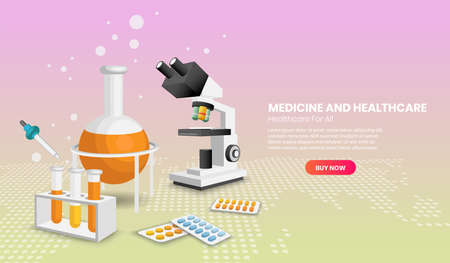 Web page design templates of Medicine and healthcare concept with microscope for infographics, hero images, web banner, landing page.3d Perspective vector illustration.