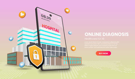 Web page design templates of Online diagnosis concept with hospital and mobile phone for infographics, hero images, web banner, landing page.3d Perspective vector illustration.
