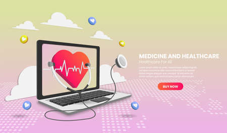 Online medical consultation with laptop and medical app, healthcare and technology concept. Vector illustration in 3d Perspective style. 版權商用圖片 - 156772730