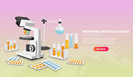 Medicine and healthcare modern design in 3d Perspective concept. Online diagnosis concept. Landing page template.3d Perspective vector illustration.