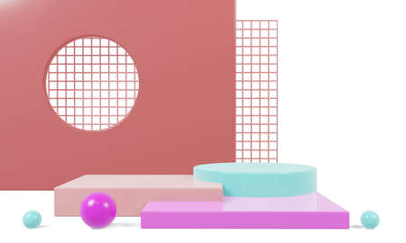 Abstract geometric shape with colorful background.mockup scene for product, banner, presentation, 3d rendering. 版權商用圖片 - 156772737