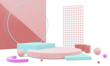 Abstract geometric shape with colorful background.mockup scene for product, banner, presentation, 3d rendering.