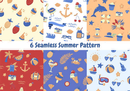 Seamless Summer Pattern Vector for banner, poster, flyer 版權商用圖片 - 157330640