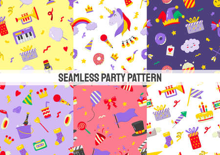 Seamless Party Pattern Vector for banner, poster, flyer