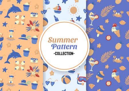 Seamless Summer Pattern Vector for banner, poster, flyer Ilustrace