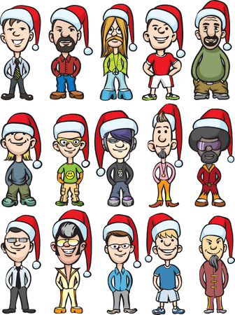 Vector illustration of cartoon avatar santa people.  Vector