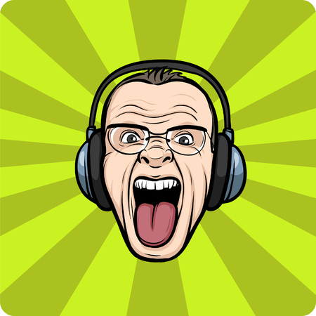 Vector illustration of Mad face sticking tongue with headphones   Vector