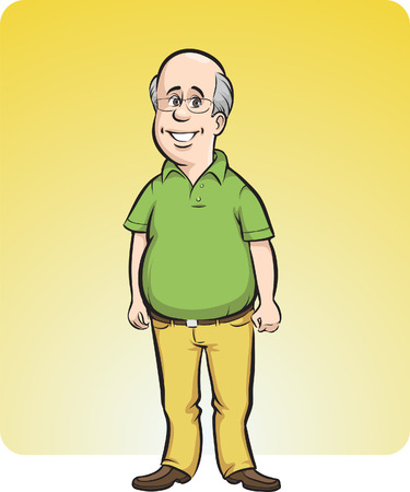 Vector illustration of cartoon smiling bald man.  Vector