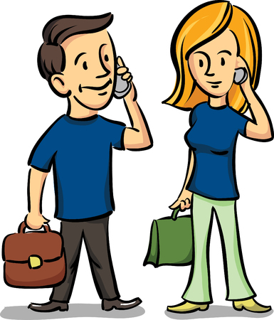 Vector illustration of man and woman talking on the cell phones Vector