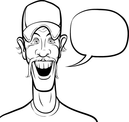 whiteboard drawing - cartoon smiling man in baseball cap with speech bubble Vector