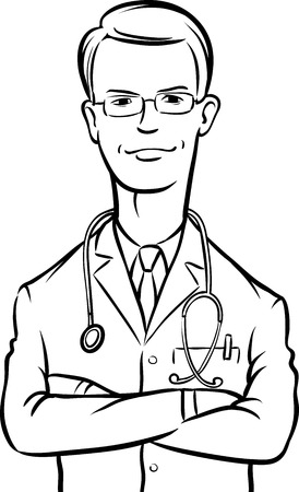 whiteboard drawing - doctor arms crossed Vector