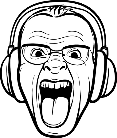 whiteboard drawing - mad face sticking tongue with headphones Vector