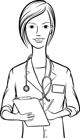 whiteboard drawing - smiling woman doctor writing on clipboard Vector
