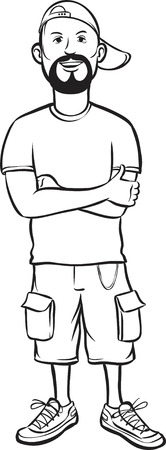 whiteboard drawing - cartoon bearded guy in baseball cap and shorts Vector