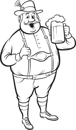 whiteboard drawing - cartoon oktoberfest man with beer Vector