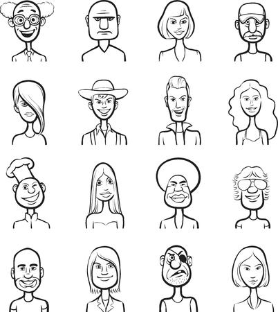 whiteboard drawing - funny cartoon faces vector collection Vector
